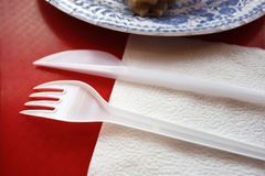 Dishware on a Red Tray Stock Images