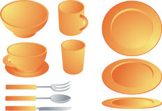 Dishware set. Set of various plates and cultery, dishware set illustration Vector illustration available for download. ==> Click here for more vectors royalty free illustration
