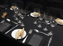 Dishware set in a restaurant table Stock Images