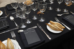 Dishware set in a restaurant table Royalty Free Stock Image