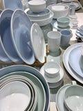 Dishware shop. plates and mugs. stock photos
