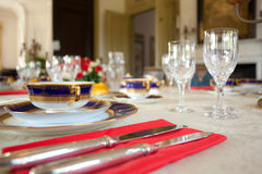 Dishware on table Royalty Free Stock Image