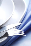 Dishware on the tablecloth Royalty Free Stock Image