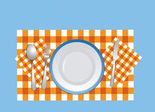 Dishware on the tablecloth in vector royalty free stock image