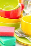 Dishware. Wash and cleaning. Dishware in the kitchen. Wash and cleaning stock photos