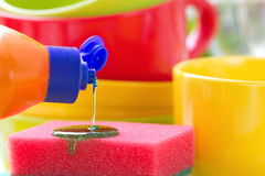 dishware Wash och lokalvård royaltyfri foto
