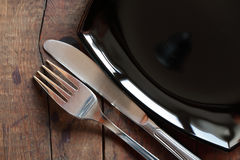 Dishware On Wood Royalty Free Stock Images