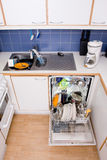 Dishwasher. Opened dishwasher with clean dishes Royalty Free Stock Images