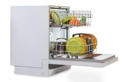 Dishwasher Against White Background Stock Photo