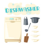 Dishwasher appliance and vector kitchen dishware Royalty Free Stock Photos