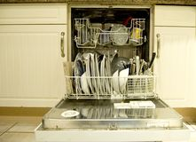 Dishwasher clean landscape. A landscape layout image of dishwasher with clean dishes Stock Photography