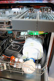 Dishwasher after cleaning process Royalty Free Stock Images