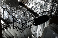 Dishwasher after cleaning process. Royalty Free Stock Images