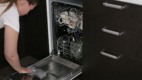 Dishwasher close up stock video