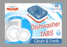 Free Dishwasher Detergent Tabs. Realistic Illustration With Plates In Water Splash And Bubbles. Dish Wash Advertisement Poster Layout. Stock Photography - 121717452