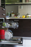 Dishwasher dirty dishes kitchen Royalty Free Stock Image