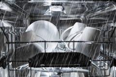 Dishwasher machine working process Royalty Free Stock Image