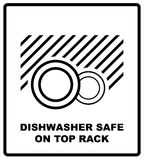 Dishwasher safe on top rack symbol isolated. Dishwasher safe sign isolated, vector illustration. Symbol for use Royalty Free Stock Photography