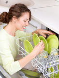 Dishwasher. Young woman doing Housework Royalty Free Stock Images