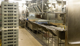 Dishwashing Area of Commercial Kitchen. Modern stainless steel dishwashing equipment in a commercial kitchen royalty free stock photo