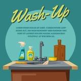 Dishwashing and cleaning with soap sink and sponge. Cartoon vector illustration. Dishwashing with soap sink and sponge. Cartoon vector illustration. For web and vector illustration