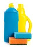 Dishwashing detergent with sponge isolated on white background Stock Images