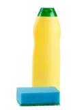 Dishwashing detergent with sponge isolated on white background Royalty Free Stock Image