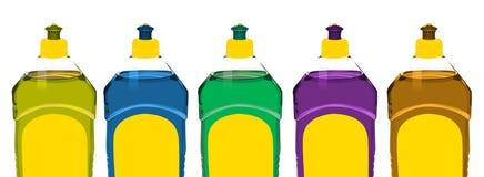 Dishwashing detergents. Kitchen utensils 3d & computer generated Stock Photos