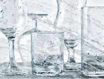 Glassware washing under water jets Royalty Free Stock Images