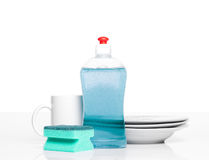 Dishwashing liquid. And clean plates Stock Photo