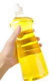 Dishwashing Liquid. A yellow bottle Dishwashing Liquid stock photo