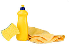 Dishwashing Liquid. And Towel over white Royalty Free Stock Photo