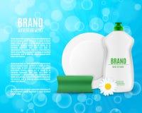 Dishwashing liquid bottle. With sponge and plate. Washing dishes ads. 3d illustration. EPS10 vector Royalty Free Stock Photos