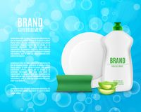 Dishwashing liquid bottle. With sponge and plate. Washing dishes ads. 3d illustration. EPS10 vector Royalty Free Stock Photos