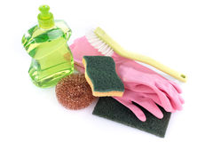 Dishwashing liquid with cleaning equipment Stock Image