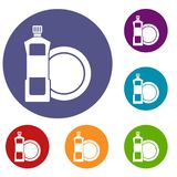 Dishwashing liquid detergent and dish icons set. In flat circle reb, blue and green color for web Stock Photos