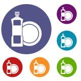 Dishwashing liquid detergent and dish icons set Stock Photos