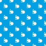 Dishwashing liquid detergent and dish pattern seamless blue Stock Image