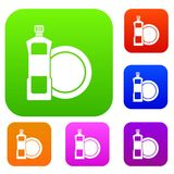 Dishwashing liquid detergent and dish set collection. Dishwashing liquid detergent and dish set icon in different colors isolated vector illustration. Premium Stock Photos