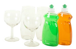 Dishwashing Liquid with Glasses Royalty Free Stock Images