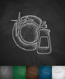 Dishwashing liquid icon. Hand drawn vector illustration. Chalkboard Design Stock Photos