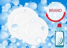 Dishwashing liquid products. Bottle label design. Dish wash advertisement poster layout. Vector. Illustration Stock Images