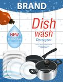 Dishwashing liquid products with stack plates, saucepan and frying pan. Bottle label package design. Dish wash advertisement poste. R layout. Vector illustration royalty free illustration