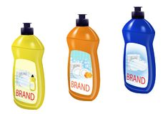 Dishwashing liquid set bottle template design. Dish wash brand bottle advertisement. Vector. Illustration stock illustration