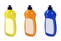 Dishwashing liquid set bottle template design. Dish wash brand bottle advertisement. Vector. Illustration Stock Images