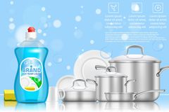 Dishwashing liquid soap ad, vector realistic illustration. Dishwashing liquid soap ad. Vector 3d realistic illustration of plastic dish soap bottle and clean royalty free illustration