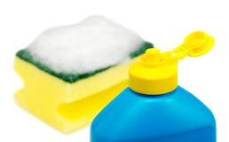 Dishwashing liquid and sponge Stock Photography