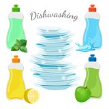Dishwashing means with aromas and clean shiny dishes. Dishwashing means with aromas of fresh mint, juicy lemon and green apple and pile of clean shiny dishes Royalty Free Stock Photo
