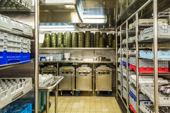 Dishwashing sekcja Handlowa kuchnia Obrazy Stock