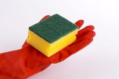 Dishwashing sponge and dishwashing gloves. Isolated photo stock photo